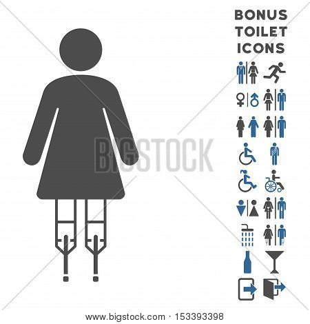 Woman Crutches icon and bonus man and woman toilet symbols. Vector illustration style is flat iconic bicolor symbols, cobalt and gray colors, white background.