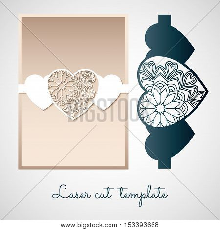 Openwork paper decor with hearts. Laser cutting template for greeting cards and invitations.