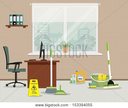 Cleaning in the office. Objects for cleaning in the office room. There is a