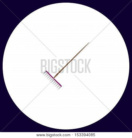 Rake Simple vector button. Illustration symbol. Color flat icon