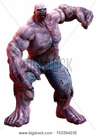 A huge angry muscular zombie 3D illustration