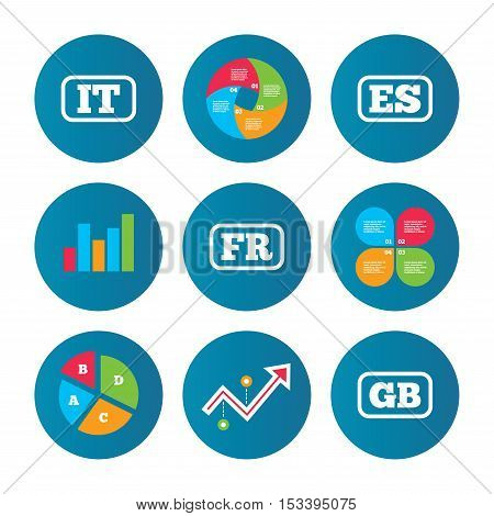Business pie chart. Growth curve. Presentation buttons. Language icons. IT, ES, FR and GB translation symbols. Italy, Spain, France and England languages. Data analysis. Vector