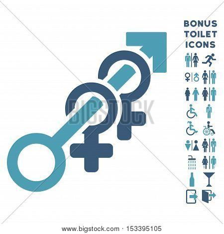 Harem icon and bonus male and woman lavatory symbols. Vector illustration style is flat iconic bicolor symbols, cyan and blue colors, white background.