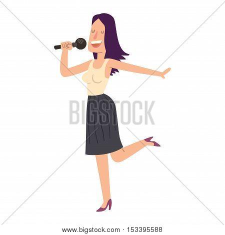 Cheerful corporate party singing people with microphone. Karaoke, songs dancing singing people cheerful expression. Happy friends singing karaoke at party singing people music fun concert vector.