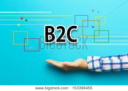 B2C concept with hand on blue background poster