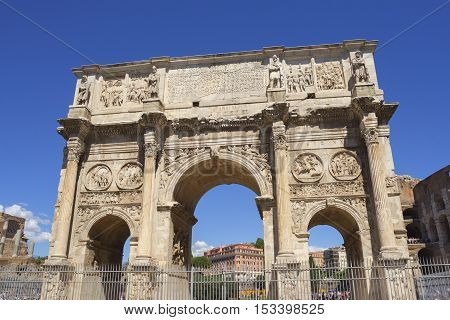 Arch of Constantine near Colosseo in Rome, Italy