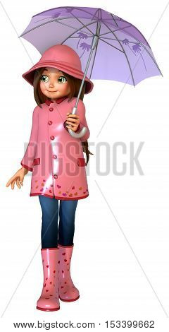 Cute girl with raincoat and umbrella 3D illustration