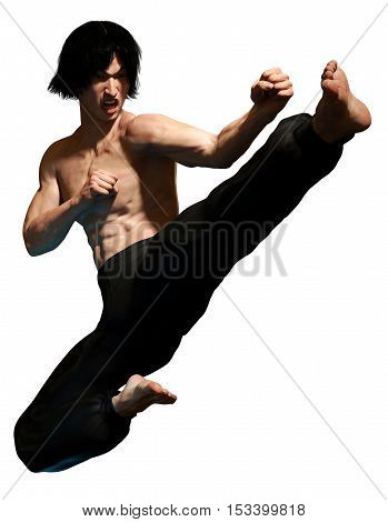 Kung fu martial artist doing a flying kick 3D illustration