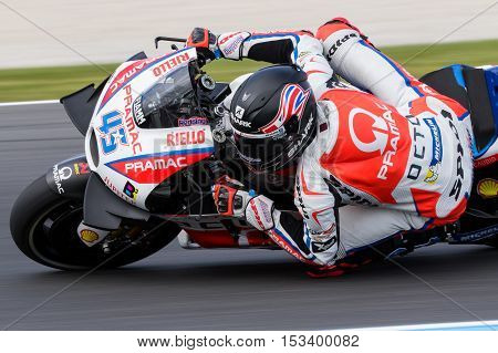 MELBOURNE AUSTRALIA – OCTOBER 23: Scott Redding (GBR) riding the #45 Octo Pramac Racing's Ducati during the 2016 Michelin Australian Motorcycle Grand Prix at 2106 Michelin Australian Motorcycle Grand Prix Australia on October 23 2016.