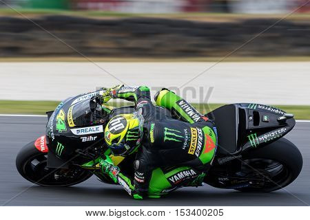 MELBOURNE AUSTRALIA – OCTOBER 23: Pol Espargaro (ESP) riding the #44 Monster Yamaha Tech 3's Yamaha during the 2016 Michelin Australian Motorcycle Grand Prix at 2106 Michelin Australian Motorcycle Grand Prix Australia on October 23 2016.
