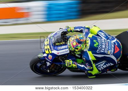 MELBOURNE AUSTRALIA – OCTOBER 23: ?46\ during the 2016 Michelin Australian Motorcycle Grand Prix at 2106 Michelin Australian Motorcycle Grand Prix Australia on October 23 2016.