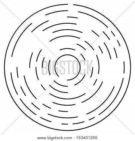 Random Concentric Segmented Circles. Circular Geometric Element.