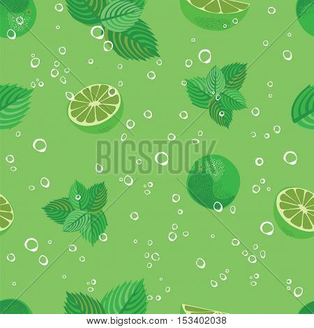 Mojito seamless pattern. Mojito green mint and lime vector background. Mojito lemonade pattern.