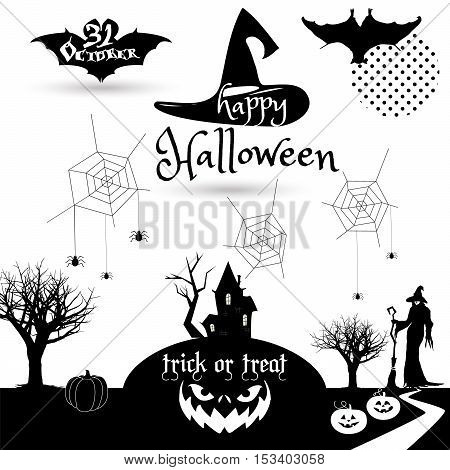 Halloween. Halloween illustration with Halloween pumpkin, bat, trees, castle, moon, witch woman, broom, for Halloween Holiday. Halloween Party background, thanksgiving, kids, trick or treat. Happy Halloween. Vintage