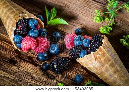 Tasty Berry Fruits Ice Cream In Waffels As Concept