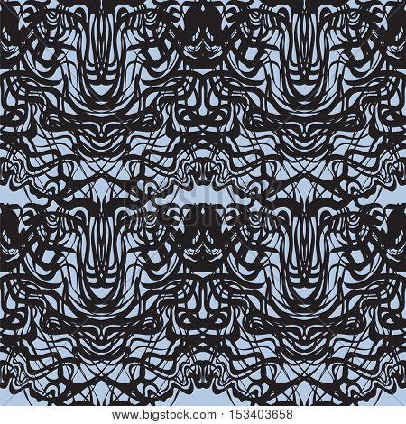 Abstract black lace, blue moire vector pattern. Abstract curve black lines wave background. Rorschach test pattern.