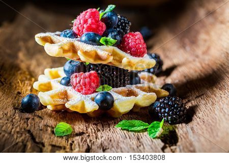 Fresh Waffels With Berry Fruits In Waffels