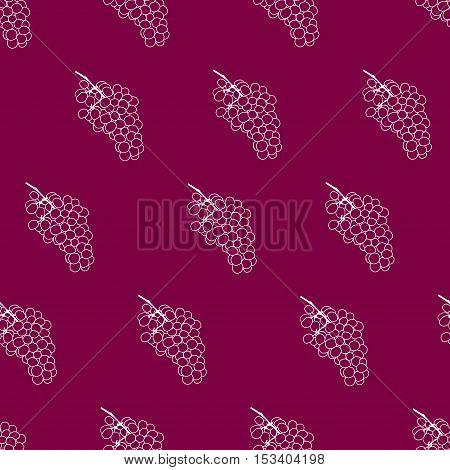 Purple burgundy and white grape seamless vector pattern background. Grape wine pattern. Flat grape wine illustration.