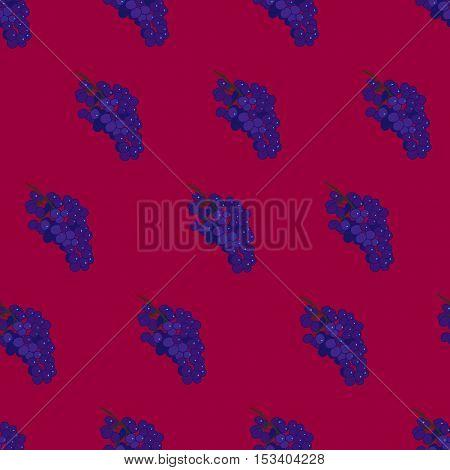 Purple burgundy and blue grape seamless vector pattern background. Grape wine pattern. Flat grape wine illustration.
