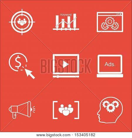 Set Of Seo Icons On Website Performance, Digital Media And Video Player Topics. Editable Vector Illu