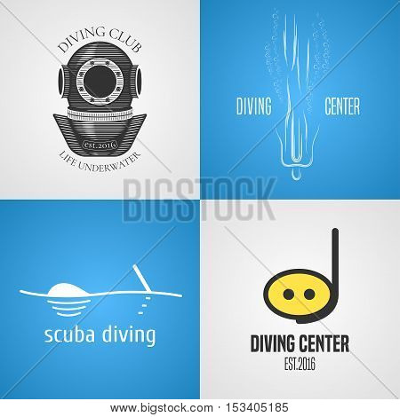 Set, collection of diving, snorkeling vector icons, sign, symbol, emblem, logo. Template graphic design elements with snorkel tune, mask for diving club. Navy travel concept image