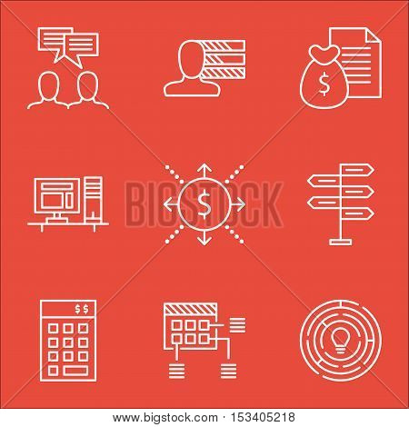 Set Of Project Management Icons On Money, Report And Personal Skills Topics. Editable Vector Illustr