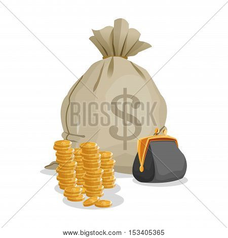Coins money bag and purse icon. Profit business and financial theme. Colorful design. Vector illustration