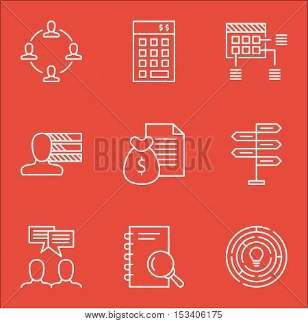 Set Of Project Management Icons On Personal Skills, Opportunity And Discussion Topics. Editable Vect