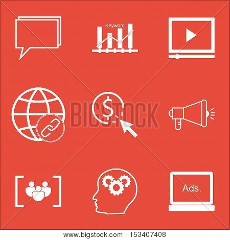 Set Of Marketing Icons On Conference, Video Player And Ppc Topics. Editable Vector Illustration. Inc