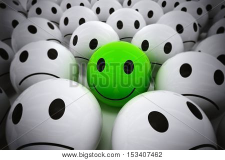 3D Rendering green ball with smile face among so many white sad balls. happy leader supports his negative team