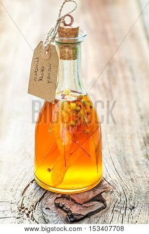 Closeup Of Healthy Tincture Made Of Honey And Linden