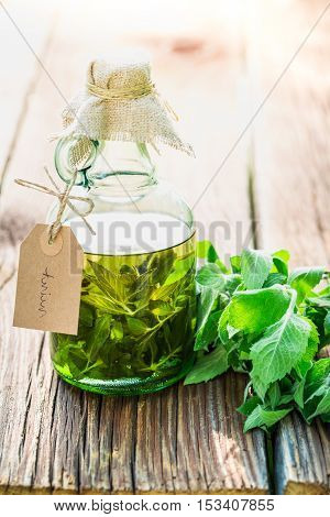 Healthy Tincture In Bottles Made Of Mint Leaves
