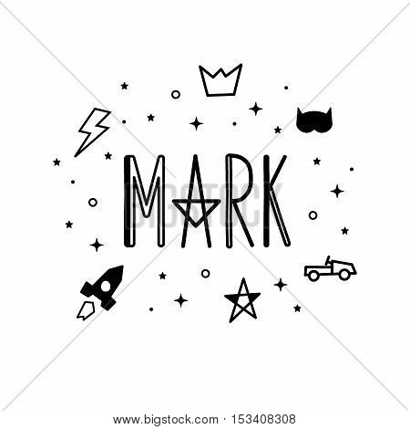 Name Mark. Printing Fabric Textile. Black And White Color. Vector Cute Illustration For Boy With Lig