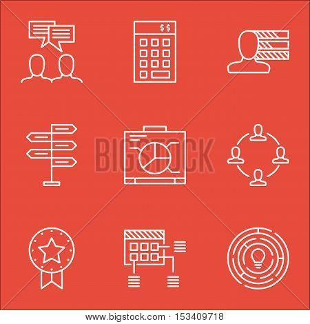 Set Of Project Management Icons On Investment, Board And Present Badge Topics. Editable Vector Illus