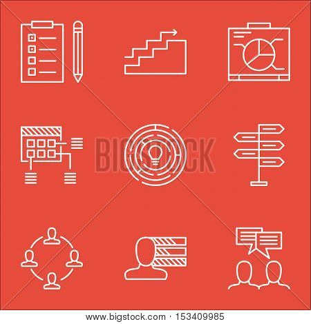 Set Of Project Management Icons On Collaboration, Schedule And Reminder Topics. Editable Vector Illu