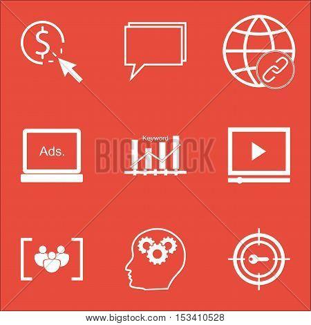 Set Of Seo Icons On Brain Process, Keyword Marketing And Keyword Optimisation Topics. Editable Vecto