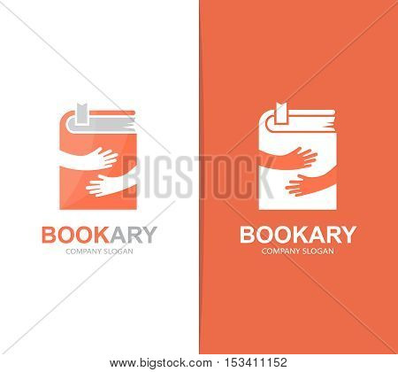 Vector book and hands logo combination. Novel and embrace symbol or icon. Unique bookstore and library logotype design template.