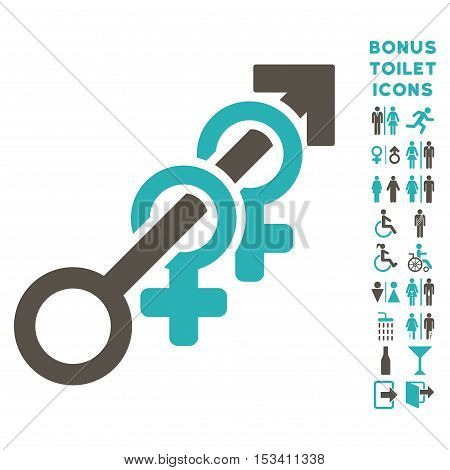 Harem icon and bonus man and lady toilet symbols. Vector illustration style is flat iconic bicolor symbols, grey and cyan colors, white background.