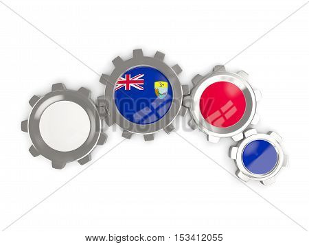 Flag Of Saint Helena, Metallic Gears With Colors Of The Flag