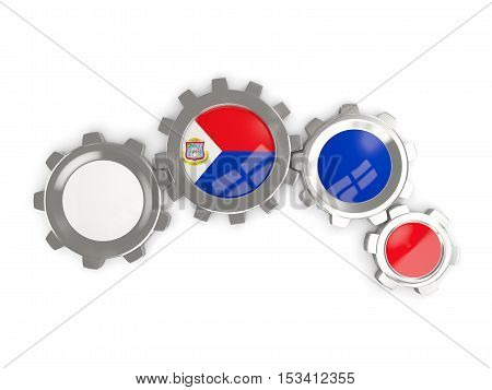 Flag Of Sint Maarten, Metallic Gears With Colors Of The Flag