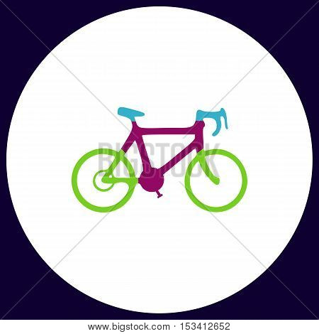 Bicycle icon Simple vector button. Illustration symbol. Color flat icon