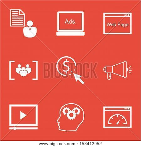 Set Of Seo Icons On Loading Speed, Video Player And Questionnaire Topics. Editable Vector Illustrati