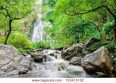 Khlong lan waterfall famous natural tourist attraction in Kampang Phet Thailand.