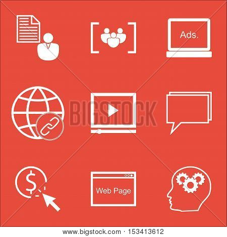 Set Of Marketing Icons On Questionnaire, Brain Process And Video Player Topics. Editable Vector Illu