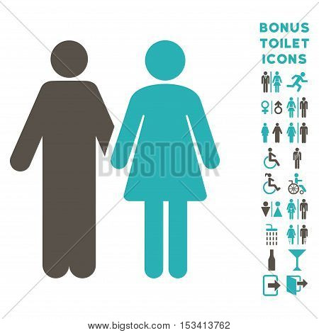 Married Couple icon and bonus man and lady lavatory symbols. Vector illustration style is flat iconic bicolor symbols, grey and cyan colors, white background.