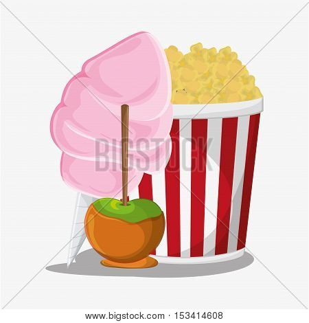 Pop corn and apple icon. Fast carnival food and menu theme. Colorful design. Vector illustratio