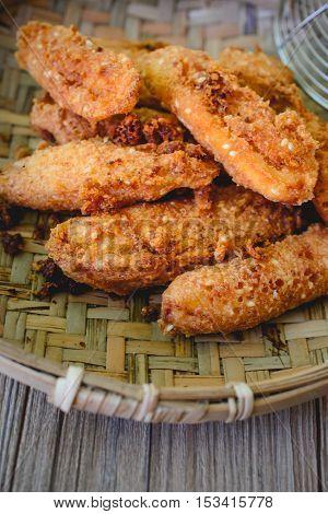 Kluy Thod, Thai Fried Deep Bananas Thai Tradition Cristpy Snack Thai Appertizer Yummy Fried Deep Bananas