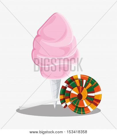 Candy cotton icon. Fast carnival food and menu theme. Colorful design. Vector illustratio