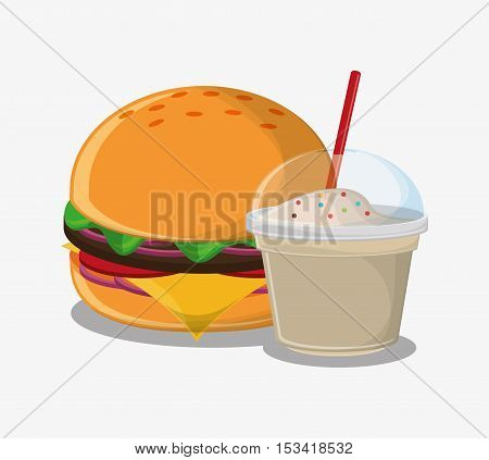 Hamburger and milkshake icon. Fast carnival food and menu theme. Colorful design. Vector illustratio