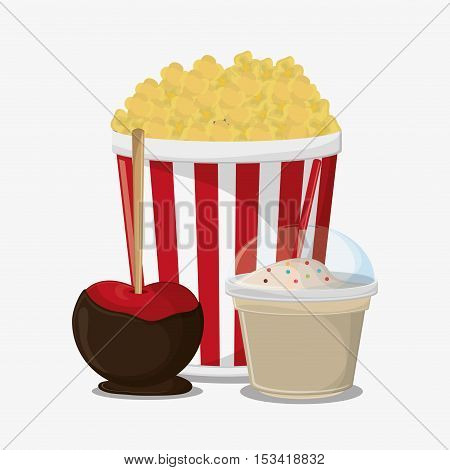 Pop corn and milkshake icon. Fast carnival food and menu theme. Colorful design. Vector illustratio